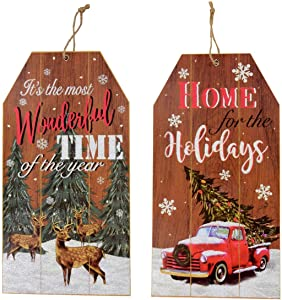 Vintage Rustic Red Truck Tree Deer Gift Tag Wall Decor Sign (Set of 2) Christmas Glitter Jute Accents
