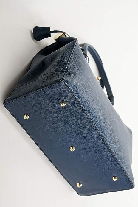 Tragetasche Handtasche Doc Kelly Totes Bag echt Leder Dunkelblau 351DBL Ital