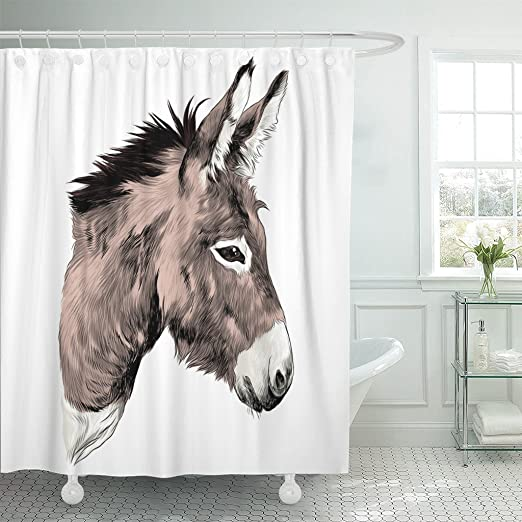 Polyester Waterproof Fabric Shower Curtain Set Hooks Colorful Horse Head Pattern