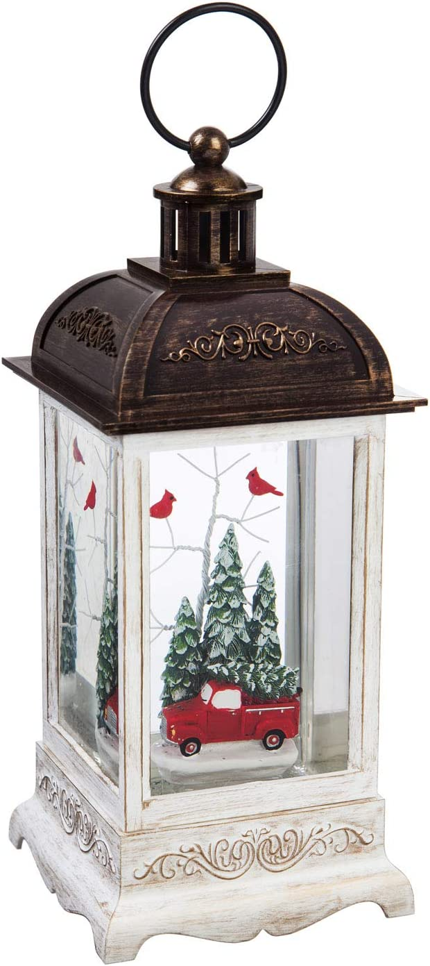 Cypress Home Beautiful Christmas Truck and Cardinal Spinning LED Lantern Table Top Décor - 4 x 4 x 10 Inches Indoor/Outdoor Decoration for Homes, Yards and Gardens