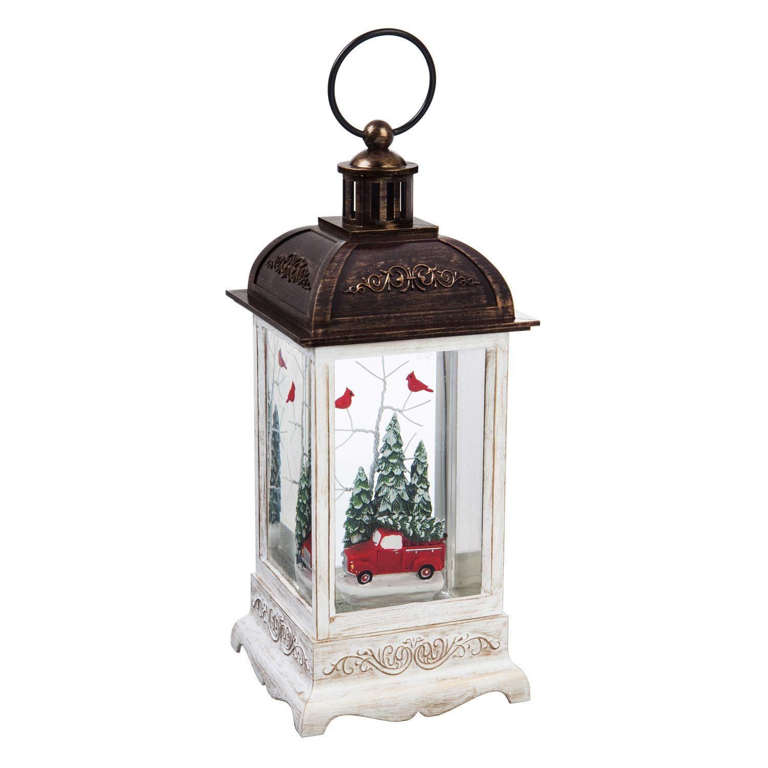 Cypress Home Red Truck and Cardinals Winter Forest Scene LED Water-Filled Lantern with Spinning Action and Timer, 19.99'' H by Cypress Home