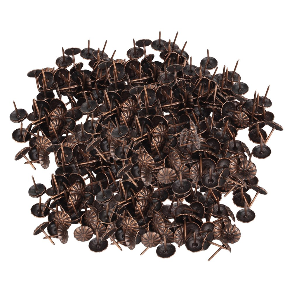 Mxfans 500Pieces 11x16mm Red Bronze Decorative Nails Upholstery Tacks Studs Pins