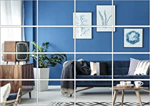 Aneco 16 Pack Removable Mirror Wall Sticker Self Adhesive Square Mirror DIY Wall Decorations for Home Room Decor, 6 x 4 inches