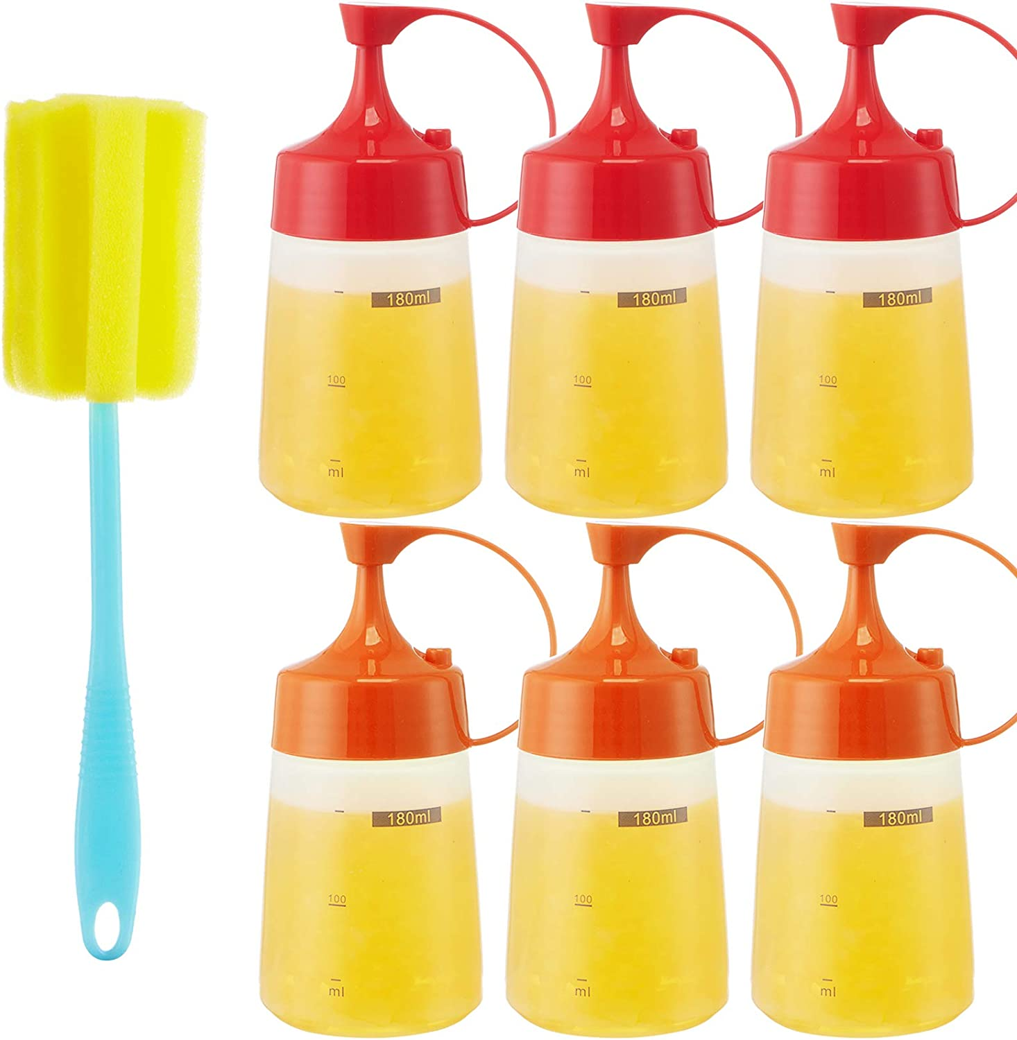 Condiment Squeeze Bottle Sauce Squeeze Squirt Bottle for Kitchen Plastic Syrup Salad Dressing Container Food Dispenser for Oil Ketchup Griddle Hot Sauce Catsup Pancake(small mouth) (6, 6 OZ)