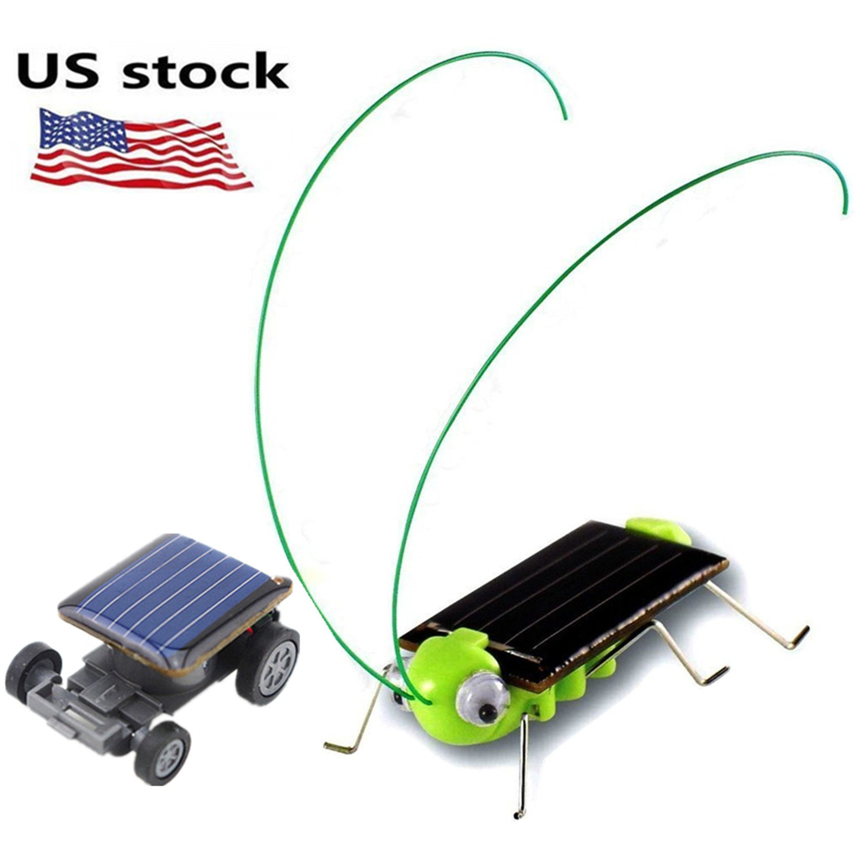 1 pack Solar Powered Grasshopper Children Learning Toy + 1 pack World's Smallest Solar Powered Car - Educational Solar Powered Toy