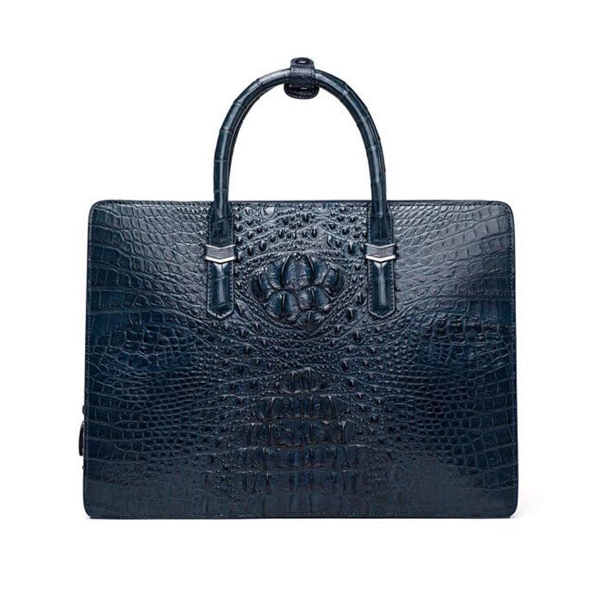 Hengxiang メッセンジャーバッグ、ラップトップブリーフケース、メンズメッセンジャーバッグ、メンズ弁護士バッグ、レザーコンピュータバッグ、ブラックサイズ:35627cm ビジネスオフィスメッセンジャーバッグ(色:ブルー)   B07PBVGHTF