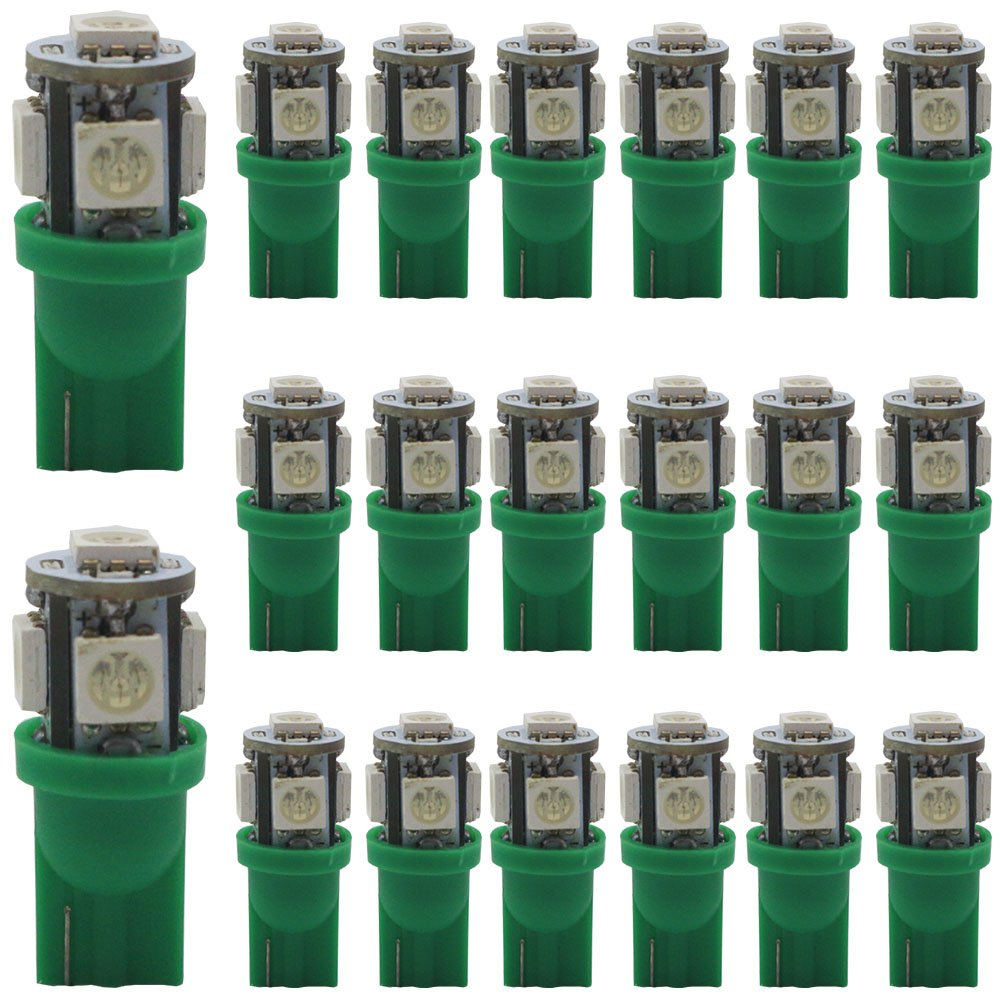 AMAZENAR 20-Pack 194 T10 Green LED Light 24V-DC, 5 SMD 5050 Chipset Car Interior Replacement W5W 168 175 158 2825 Bulb For Map Dome Courtesy Trunk License Plate Dashboard Side Marker Light Amazenar(TM) T10/194/168/ W5W-5050-5SMD