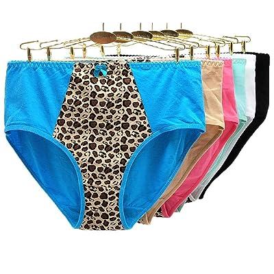 6 Unids/lote Tallas grandes XXL-4XL Calzoncillos Leopard Bow Ropa interior para mujer Pantalones de mamá transpirables de cintura alta Bragas cómodas de gran tamañoMulti_XXL: Salud y cuidado personal