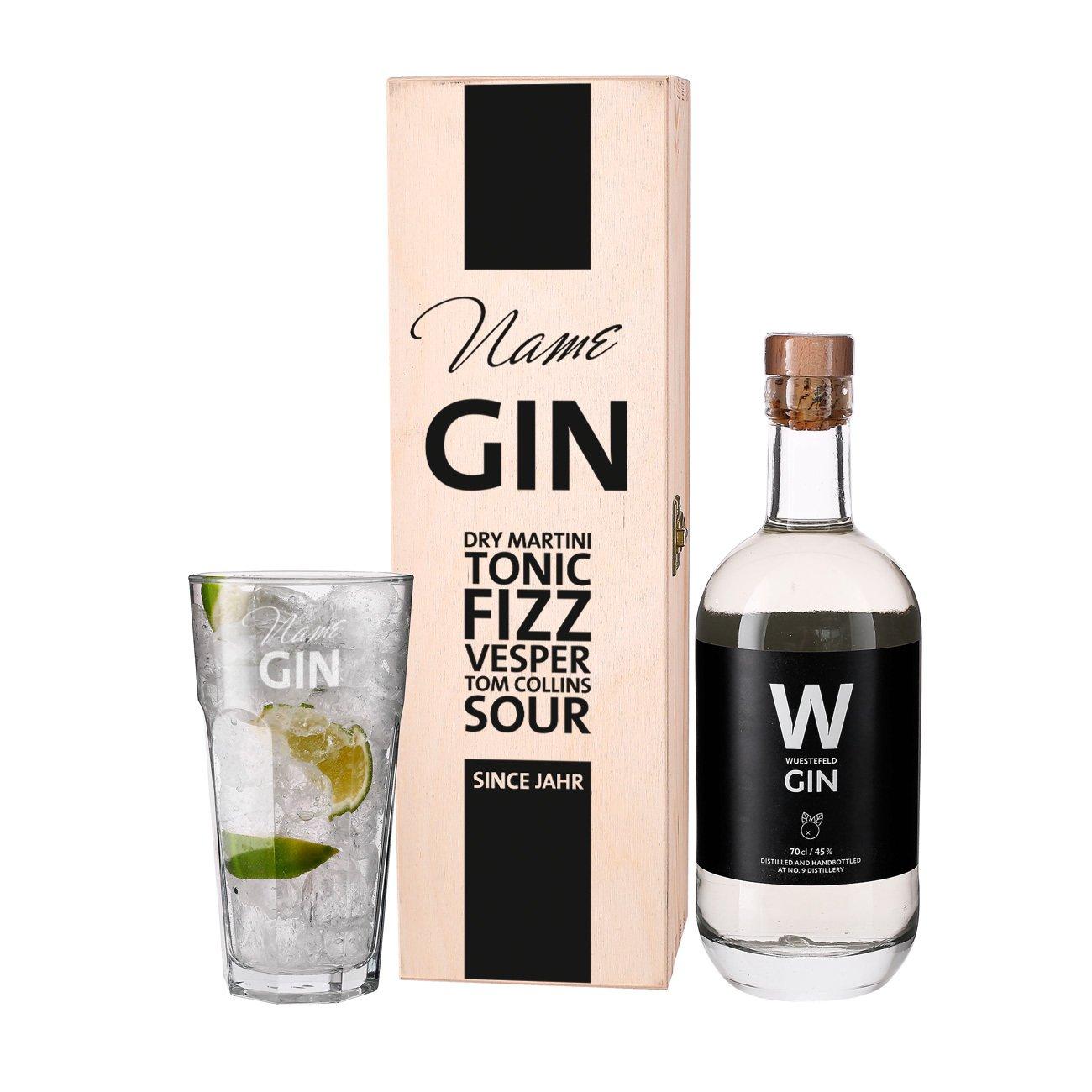 Privatglas Wuestefeld Gin Geschenkset mit graviertem Glas in ...