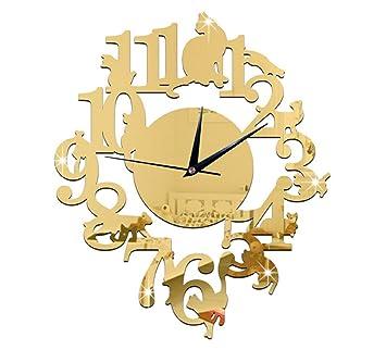 (Gold Color) NEW home decor wandklok creative wall watch reloj Acrylic Cats Lovery large
