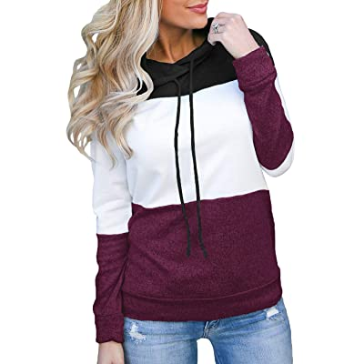 Topstype Women's Pullover Long Sleeve Hoodies Color Block Tunics Loose Casual Sweatshirts at Women's Clothing store