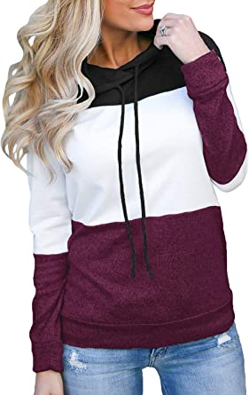 Womens Lightweight Hooded Sweaters Fashion Color Block Long Sleeve Loose Drawstring Hoodies Pullovers Tops Chaofanjiancai
