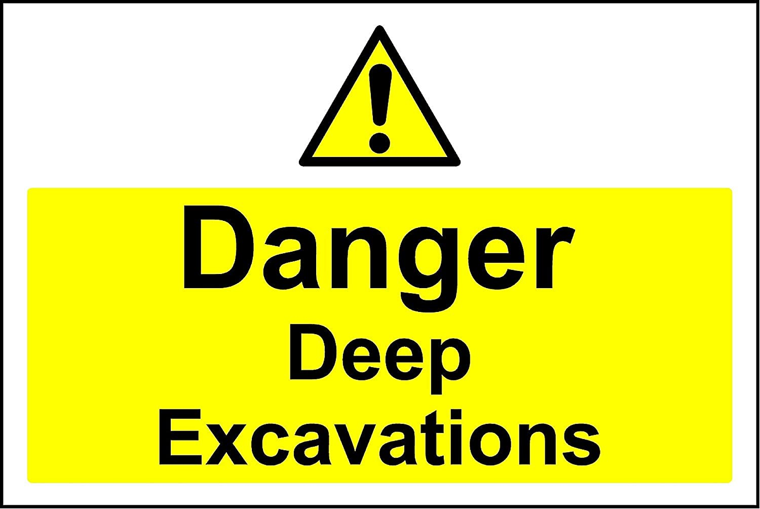 Amazon Com Danger Deep Excavations Safety Sign 3mm Aluminium Sign 600mm X 400mm Office Products