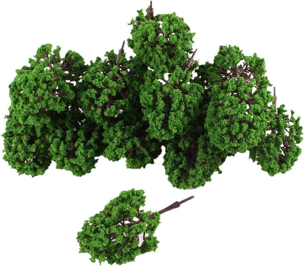 REFURBISHHOUSE 20pzs arbol Modelo de Hoja Verde de plastico Artificial 9.5cm 3.7