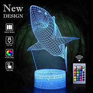 Shark Night Lights 3D Vision Effect LED Light Remote Control Wall Lamps Perfect Gifts for Birthday Xmas Holiday Party as Home Bedroom Decor Art Deco for Kids Child Teen Friends Adults(Shark(Remote))