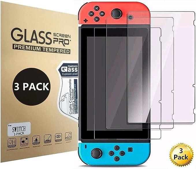Aishtec[3 Unidades] Protector de Pantalla para Nintendo Switch, Cristal Vidrio Templado Premium, [Dureza 9H] Transparente HD Anti-Arañazos - 3 Unidades: Amazon.es: Electrónica