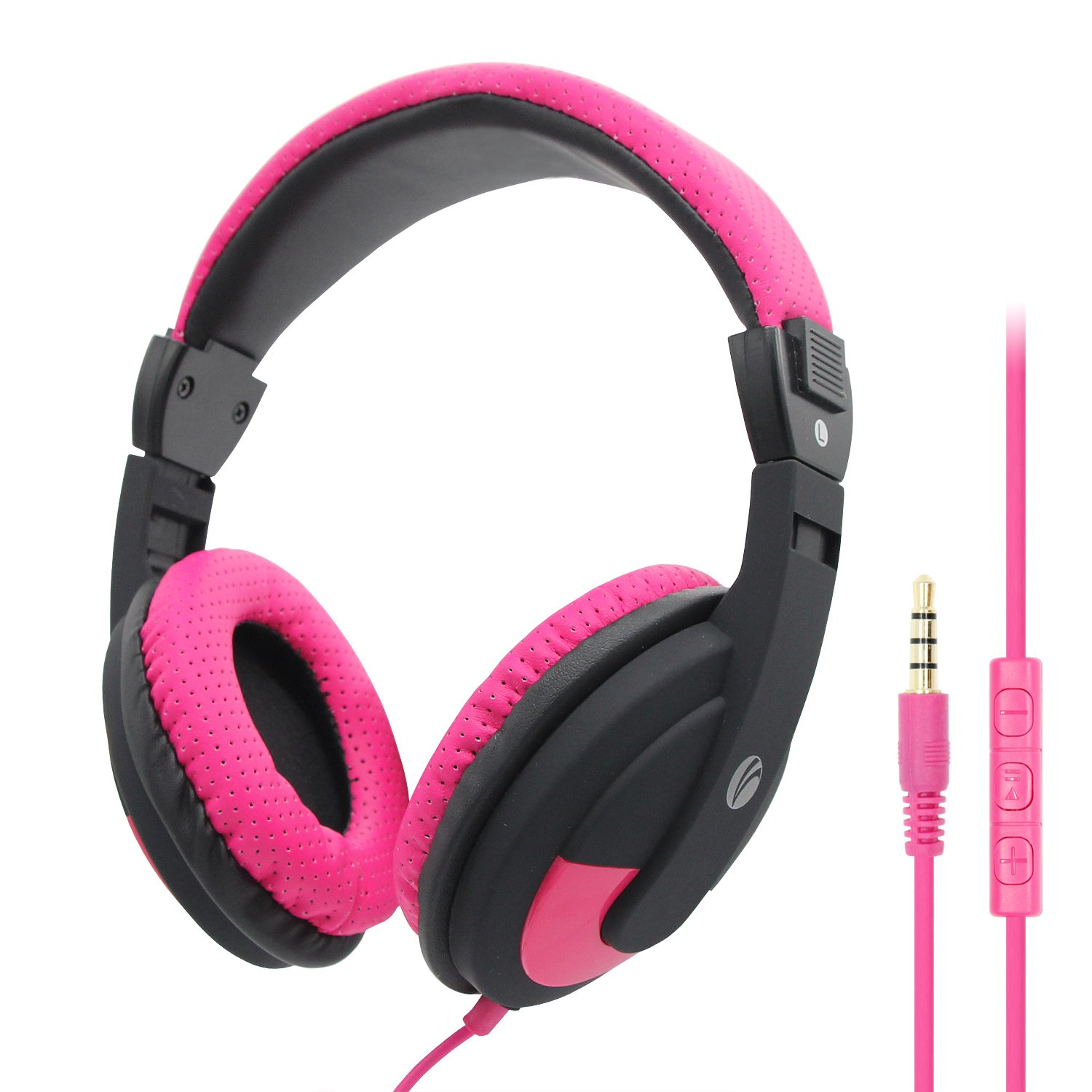 VCOM Stereo Wired PC Headset with Microphone, Lightweight On-Ear Headphones for Adults Students Kids Boys Girls Teens, Compatible for Smartphones Laptop Computer PC PS4 MP3/4 - Pink