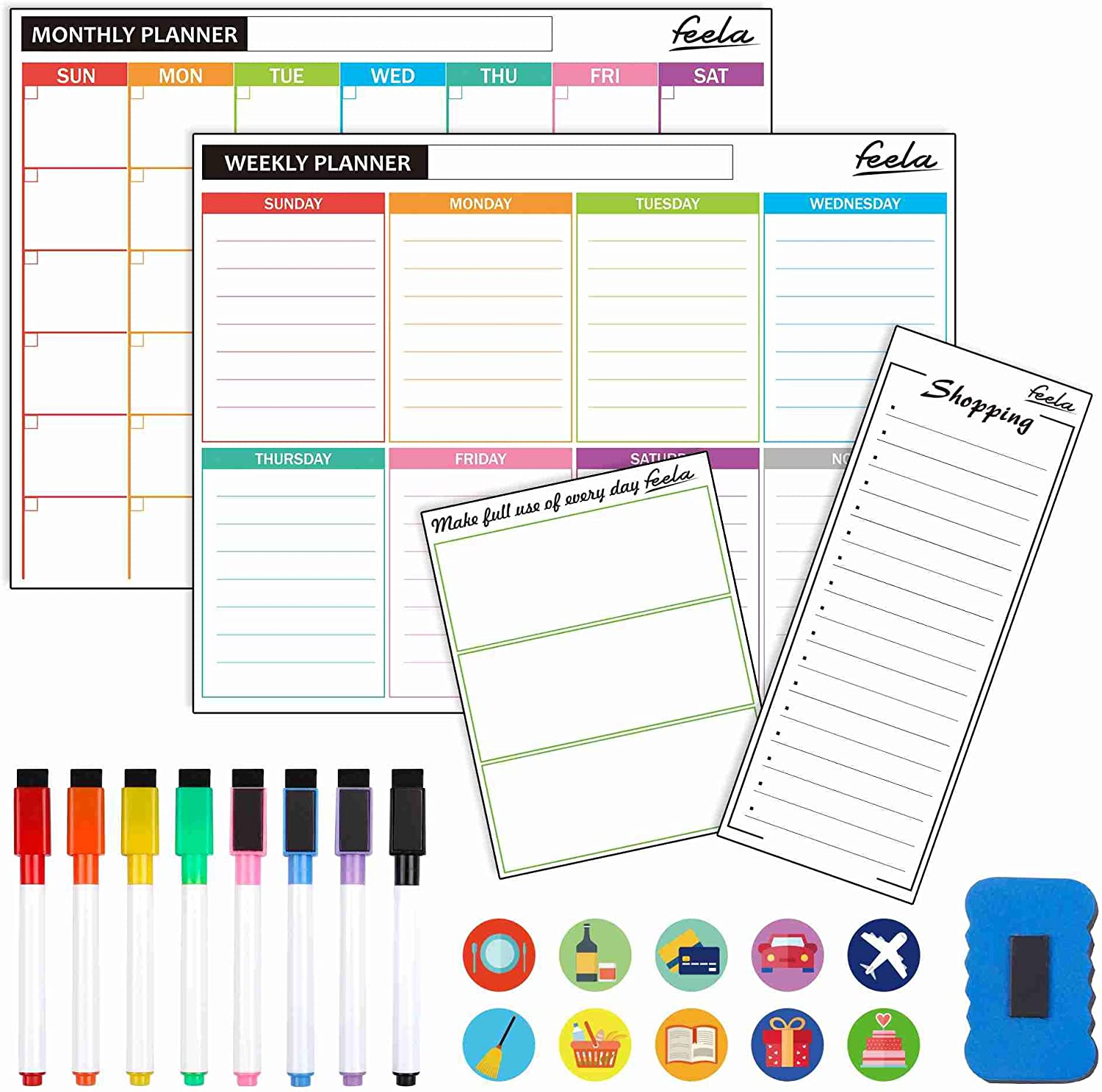 4 Pack Dry Erase Magnetic White Board Calendar Kit, Feela 2020 Monthly Weekly Calendar for Wall Refrigerator, Office Supplies with 8 Magnetic Erase Markers, 1 Eraser, 10 Stickers for Schedule Planner
