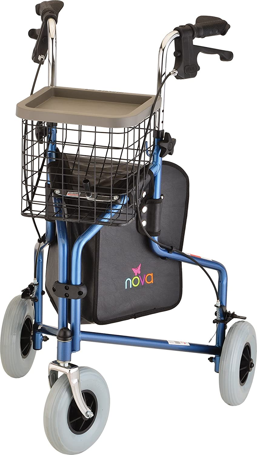 "NOVA Traveler 3 Wheel Rollator Walker, All Terrain 8"" Wheels, Includes Bag, Basket and Tray, Blue: Health & Personal Care"
