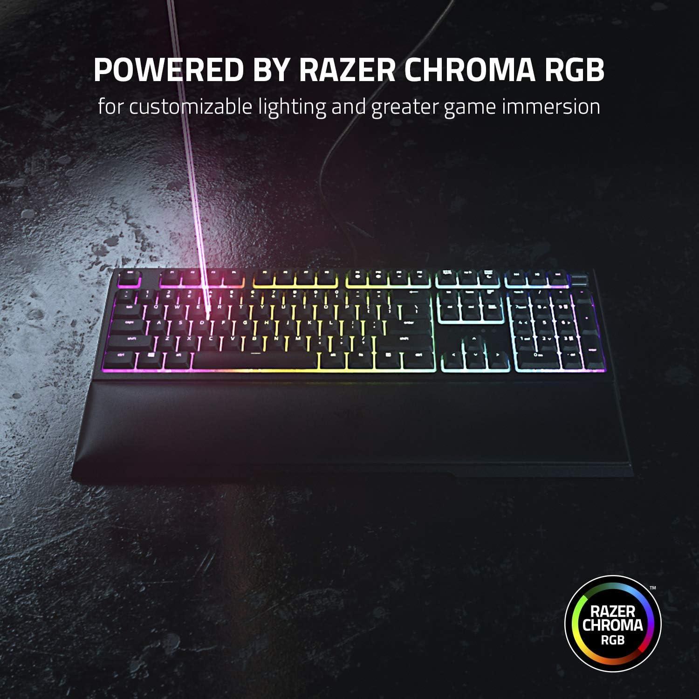 Razer Ornata V2 - Teclado para juegos (Teclado Gaming de membrana mecánica Razer, Control giratorio digital multifuncional y teclas multimedia y ...