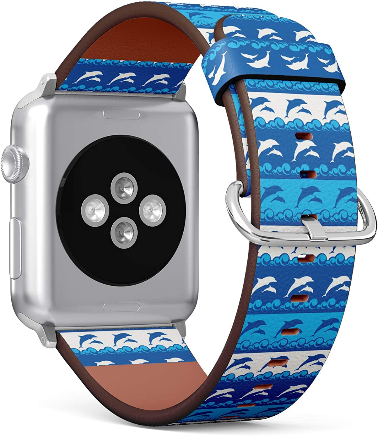 (Dolphins and Ocean Waves Pattern) Patterned Leather Wristband Strap for Apple Watch Series 4/3/2/1 gen,Replacement for iWatch 38mm / 40mm Bands