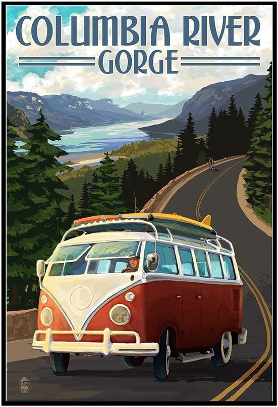 Columbia River Gorge 24x36 Framed Gallery Wrapped Stretched Canvas Camper Van