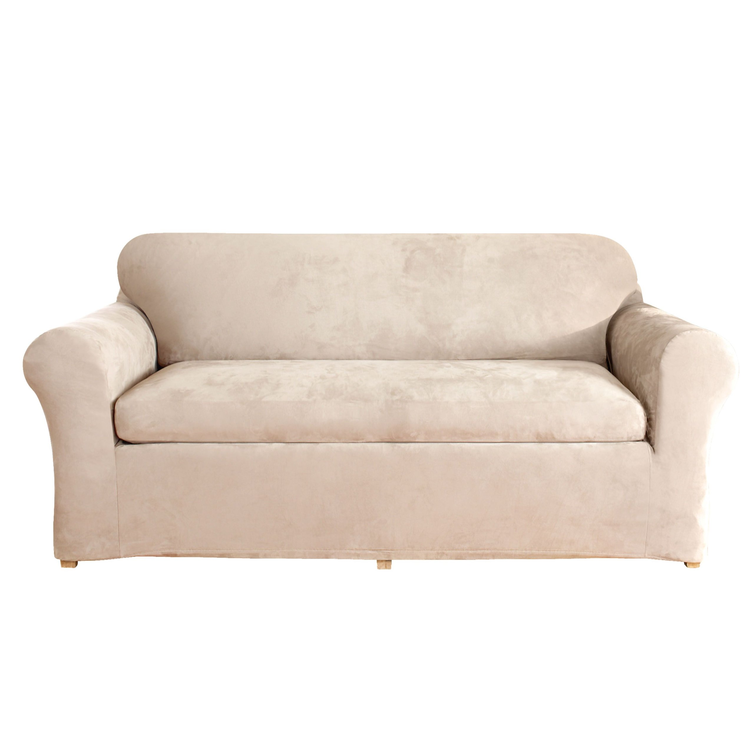 Sure Fit Stretch Suede - Loveseat Slipcover  - Taupe (SF37607) by Surefit