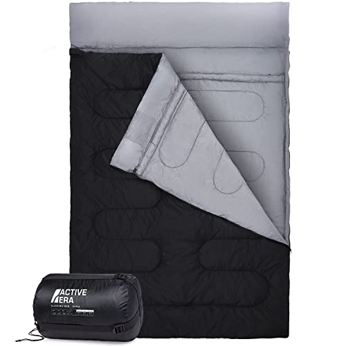 Active Era Double Sleeping Bag - Extra Large - Queen Size - Converts into 2 Singles - 3 Season for Camping, Hiking, Outdoors