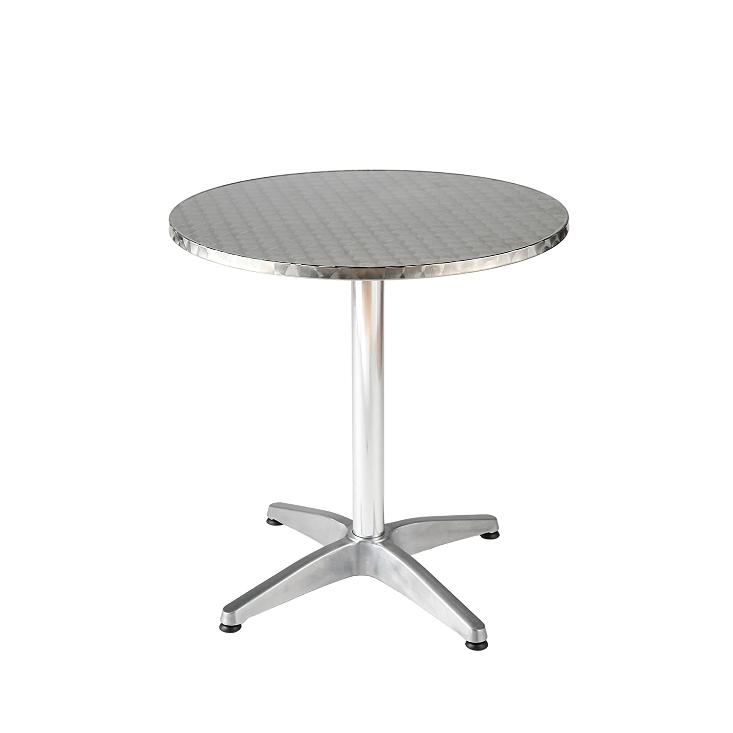 Amazon Com Euro Style Allan Round Stainless Steel Top Indoor Outdoor Bistro Table With Aluminum Base 27 5 Inch End Tables Garden Outdoor