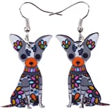 Bonsny Acrylic Drop Chihuahuas Dog Pets Earrings Funny Design Lovely Gift For Girl Women Fashion Jewelry