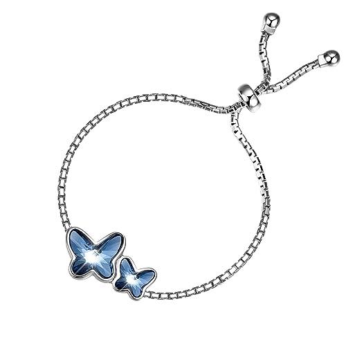 Pulsera Para Mujer Plata esterlina de T400 Jewelers - Brazalete de Mariposas Hecho con Cristal de SWAROVSKI Elements