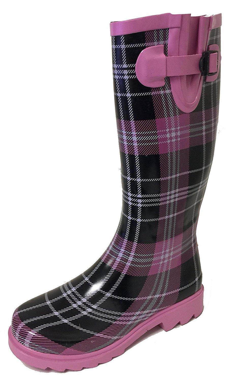 G4U Women's Rain Boots Multiple Styles Color Mid Calf Wellies Buckle Fashion Rubber Knee High Snow Shoes (6 B(M) US, Pink/Black Plaid)