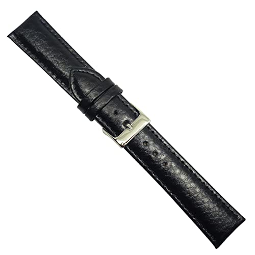 """Uhrbanddealer 20mm Ersatzband Uhrenarmband """"Polo"""" Kalb Leder Band Schwarz seidenmatt 204820s"""