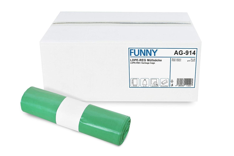 Funny AG-914 Mü llsä cke, LDPE-Regenerat, Grü n (250-er Pack) PLOCK