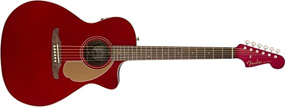 Fender Newporter Player - California Series Acoustic Guitar - Candy Apple Red Finish