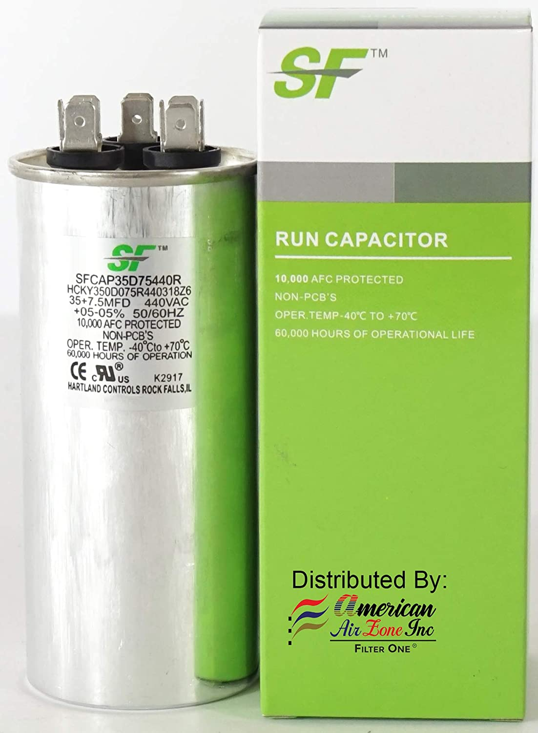 TRANE SF 45+7.5 MFD /μF 370//440 Volts Dual Run Capacitor-Round 2-Pack Replaces other Brands Capacitors for AC Motors Fans or AC Compressors MicroFarad