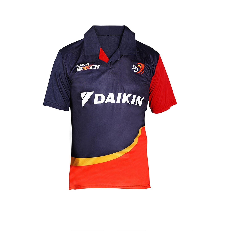 adidas IPL Delhi Daredevils Mens Top Short Sleeve Cricket Jersey Blue Large