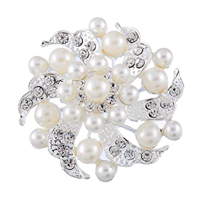 souarts broche epingle nourrice mariage fleurs perles artificielles strass 1pc - Epingle A Nourrice Mariage