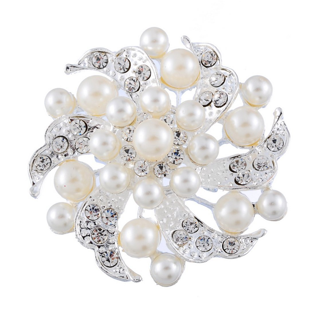 Souarts Womens Silver Tone Color Hollow Flower Brooch Pin with Artificial Pearl