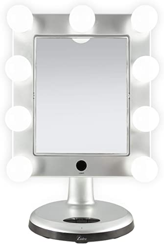 Zadro Melrose LED Variable 3-Color Lighted Dual-Sided 5X 1X Magnification Bluetooth Vanity Beauty Makeup Hollywood-Style Mirror, Satin Nickel