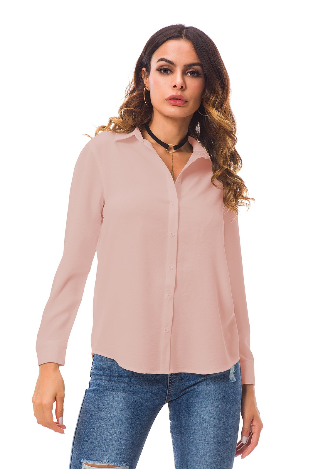 ویکالا · خرید  اصل اورجینال · خرید از آمازون · Tsher Women's Long Sleeve Shirt Loose Casual Professional Button Blouse for Women x5005 (M, Pink) wekala · ویکالا
