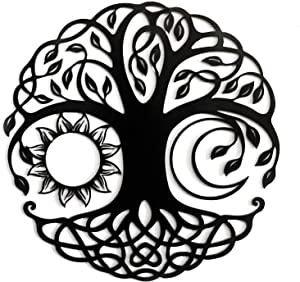 Metal Tree of Life Wall Decor ,Metal Wall Art Tree Sun Moon Combination,Housewarming Gift Home Decoration Indoor and Outdoor Wall Hanging Sculpture- 18 inch