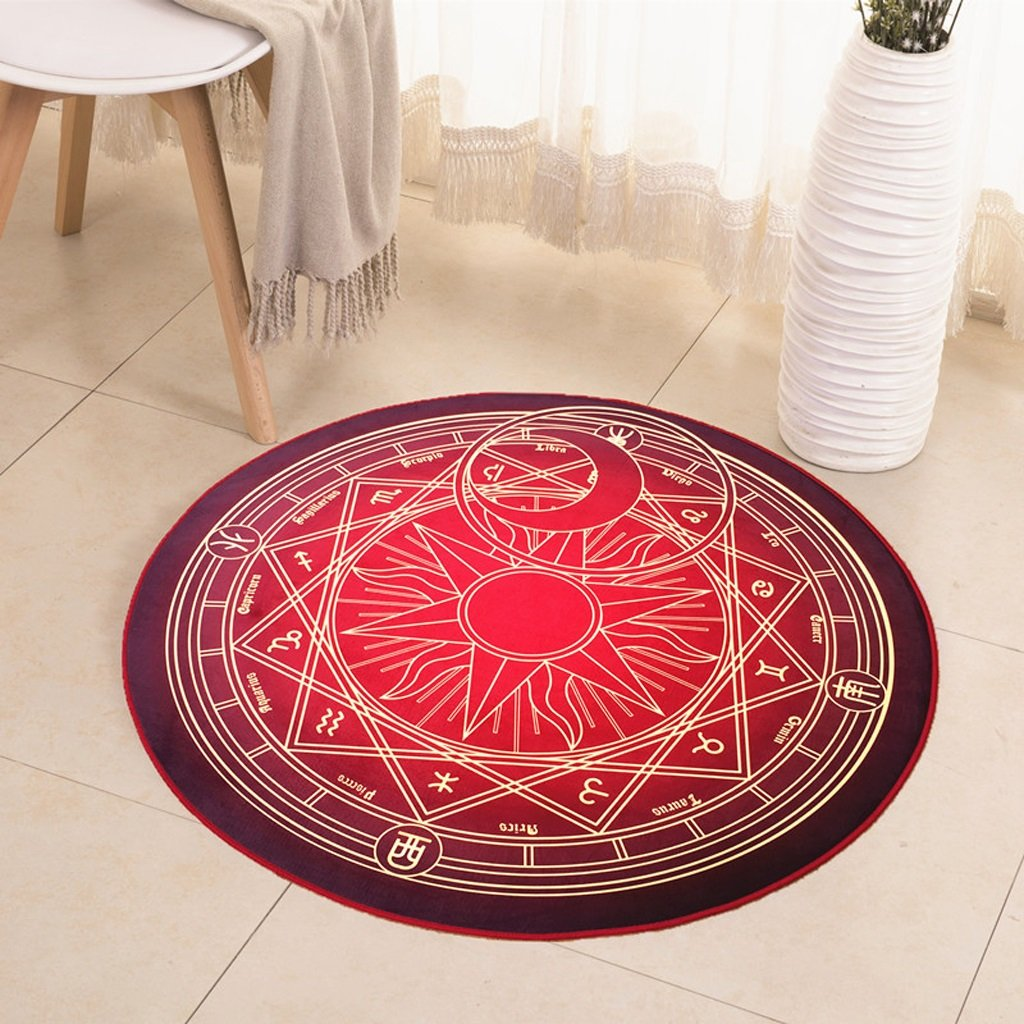 Hyun times Carpet camera magic circle round carpet children bedroom bedside cloakroom computer chair cushion ( Color : Red , Size : 180cm )