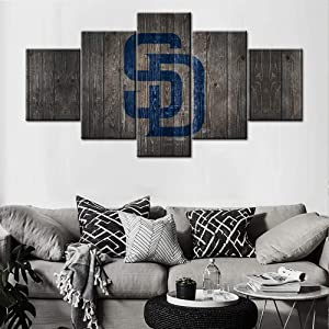Black and White Blue Painting Canvas Wall Art San Diego Padres Logo Picture Wood Look Artwork Baseball Team Art Decor Wall Poster 5 panel Giclee Wooden Framed Stretched Ready to Hang(60Wx32H inches)