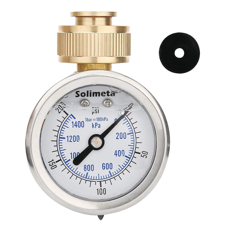 """Solimeta 2"""" Glycerin Filled Stainless Steel Water Pressure Test Gauge, Garden Hose Pressure Gauge, House Water Pressure Gauge, 3/4"""" Female Hose Thread, 0-200 psi/kpa"""