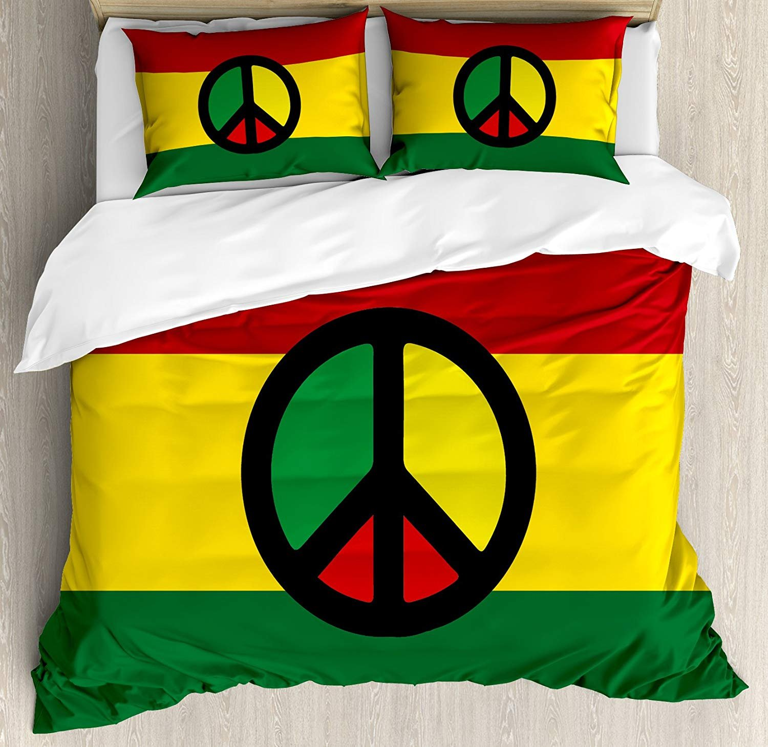 Anzona Full Size Jamaican 3 PCS Duvet Cover Set, Reggae Culture Peace Symbol Caribbean Country Flag Design Americas Rasta Culture, Bedding Set Bedspread for Children/Teens/Adults/Kids, Multicolor