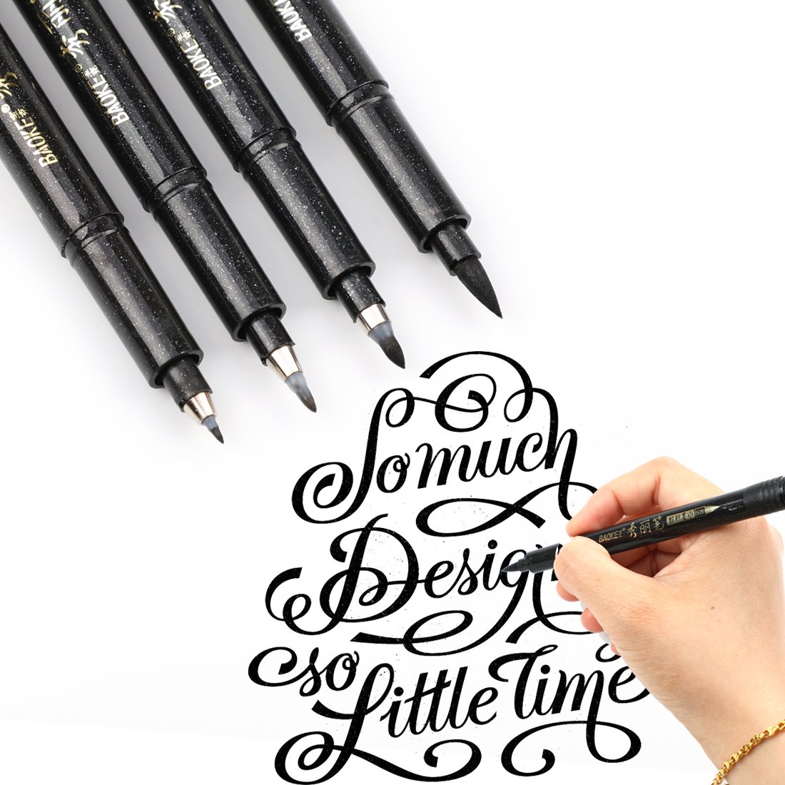 Refillable Brush Marker Pens for Hand Lettering - 4 Size Black Calligraphy Ink Pen for Beginners Writing, Signature, Illustration, Design by BOXUN (Image #2)