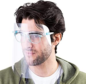 5Pcs Face Shields Set with 10 Glasses,Face Shields Set with Anti Fog Shields and Glasses for Man and Women to Protect Eyes and Face
