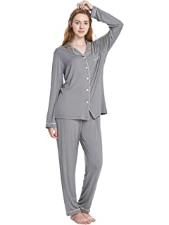 4732147b3c SIORO Pajamas for Women Long Sleeve Sleepwear Soft PJ Set Loungewear S-XL  Two Piece