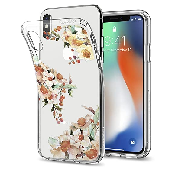 best service c73c7 a8710 Spigen Liquid Crystal Designed for Apple iPhone Xs Case (2018) / Designed  for Apple iPhone X Case (2017) - Aquarelle Primrose